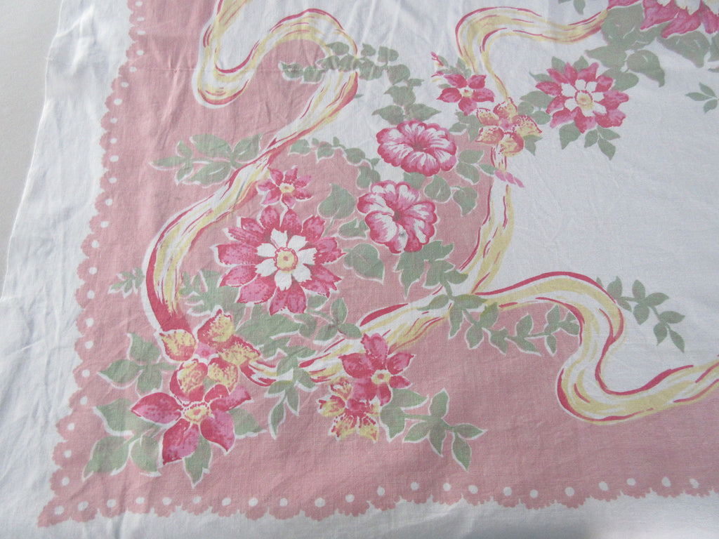 Pastel Flowers Ribbons on Pink Cutter? Floral Vintage Printed Tablecloth (50 X 46)