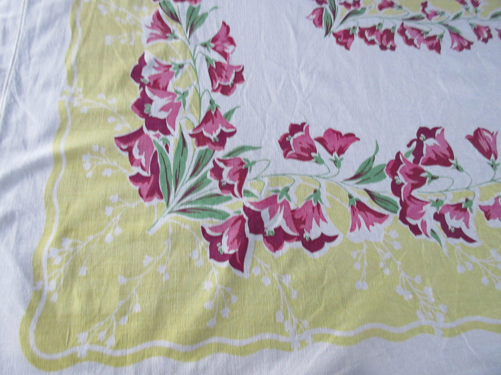 Pink Green Bellflowers on Gold Yellow Hemmed Floral Vintage Printed Tablecloth (67 X 58)
