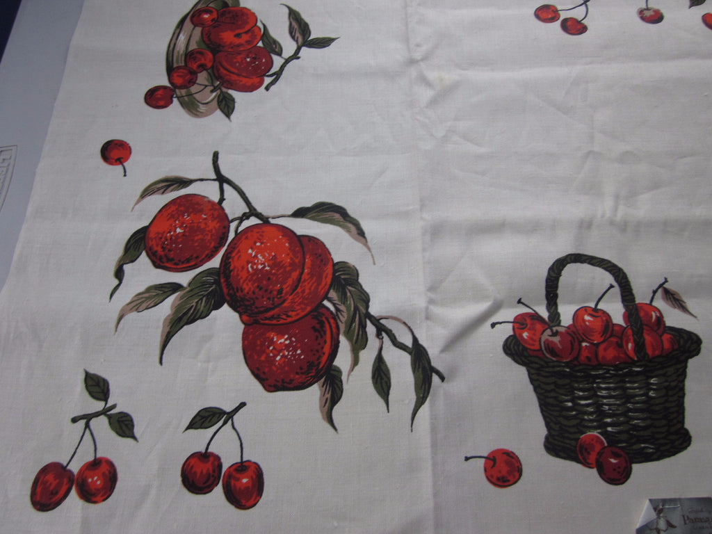 Fall Linen Fruit Peaches Cherries MWT Vintage Printed Tablecloth (52 X 51)