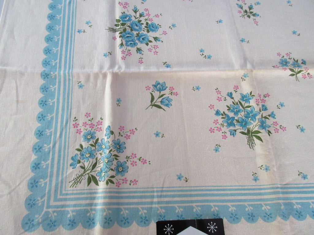 Pink Bouquets on Aqua Scallops MWT Floral Vintage Printed Tablecloth (52 X 52)