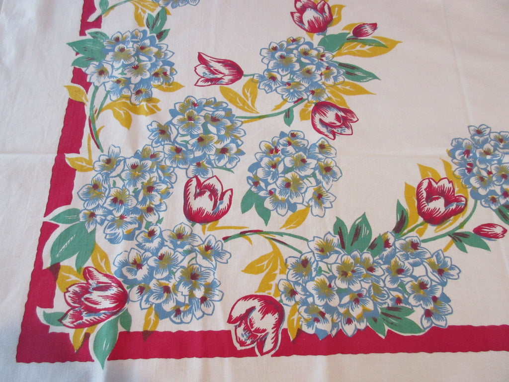 Bright Primary Hydrangea Tulips on Red Floral Vintage Printed Tablecloth (50 X 46)