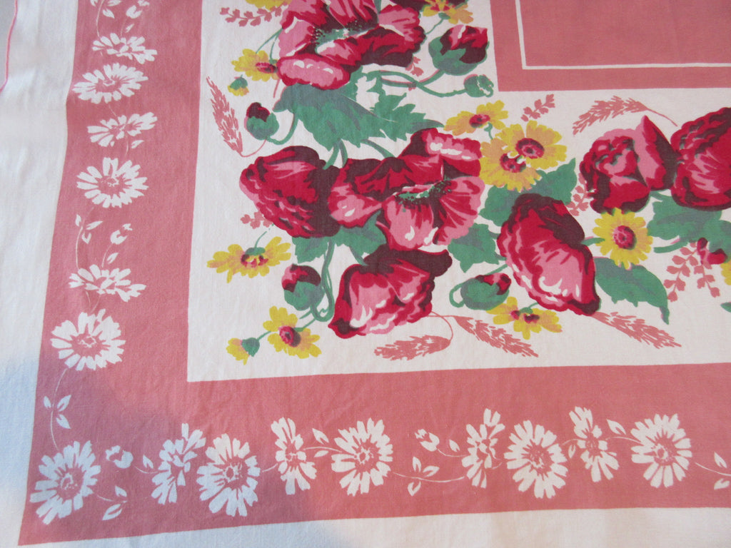 Pink Red Yellow Green Poppies Floral Vintage Printed Tablecloth (48 X 46)