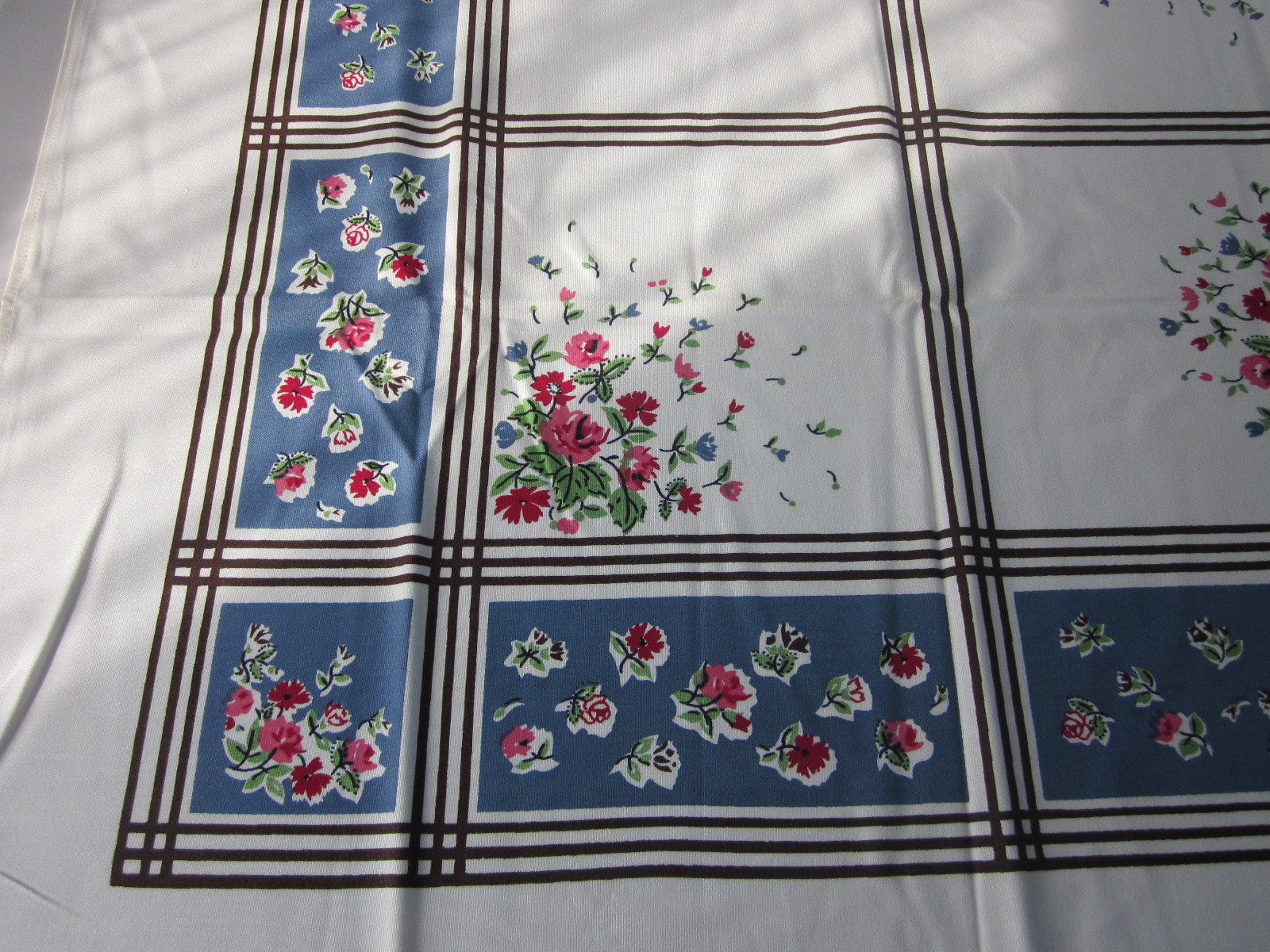 Pink Roses on Blue Floral MWT Vintage Printed Tablecloth (52 X 50)