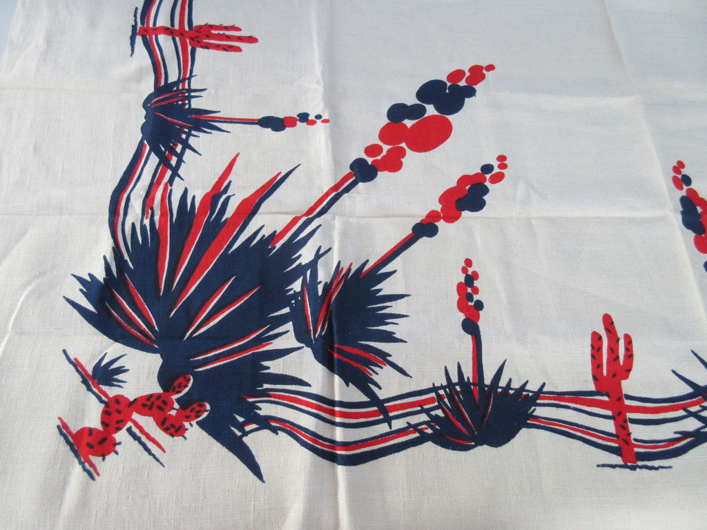 Rare Early Yucca Cactus Cacti Desert MWT Novelty Vintage Printed Tablecloth (53 X 52)