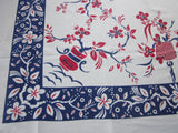 RWB Patriotic Plants in Pots Floral Vintage Printed Tablecloth (46 X 45)