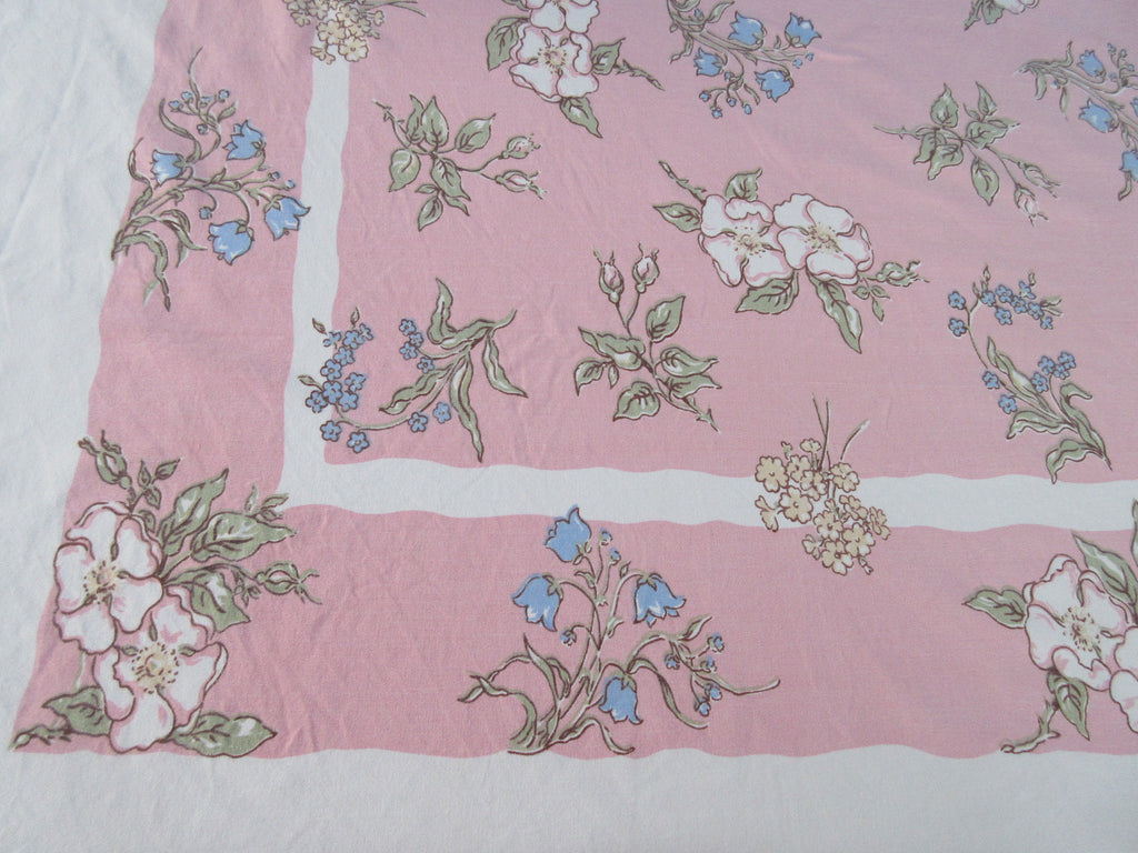 Pastel Flowers on Pink Kate Greenaway Floral Vintage Printed Tablecloth (66 X 59)