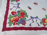 Primary Fruit Blue Ribbons Magenta Linen Vintage Printed Tablecloth (51 X 48)