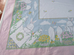 Retro Easter Bunny Fence Tulips Novelty Vintage Printed Tablecloth (80 X 58)