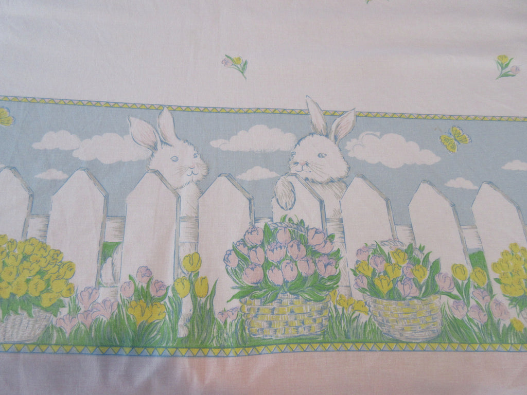 OVAL Retro Easter Bunny Fence Tulips Novelty Vintage Printed Tablecloth (80 X 60)