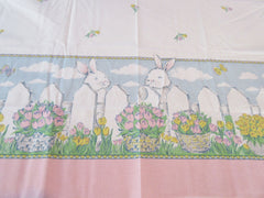 NOS Large Retro Easter Bunny Fence Tulips Novelty Vintage Printed Tablecloth (80 X 58)