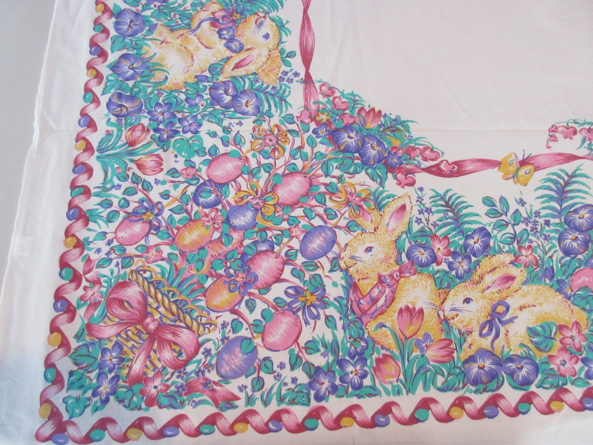 Retro Square Easter Bunny Egg Tree Novelty Vintage Printed Tablecloth (52 X 50)