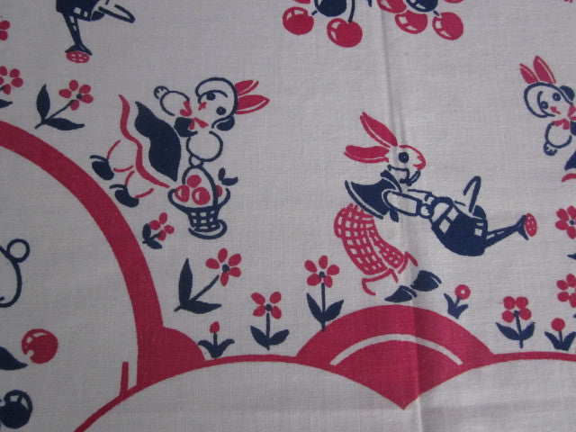 Rare Bunnies Elves Broderie 1930s Novelty Vintage Printed Tablecloth (48 X 46)