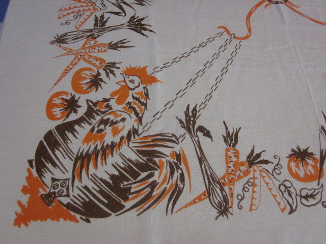 Rare 30s Linen Chicken Soup Novelty Vintage Printed Tablecloth (48 X 47)
