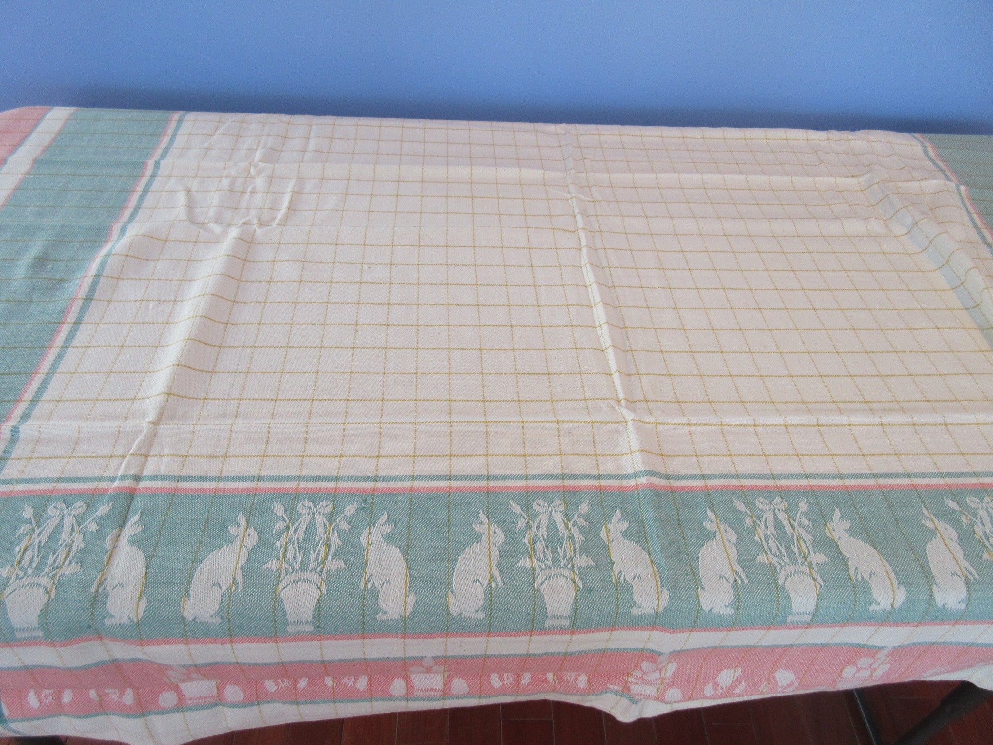 Square Easter Jacquard Plaid Green Peach Novelty Vintage Printed Tablecloth (52 X 52)