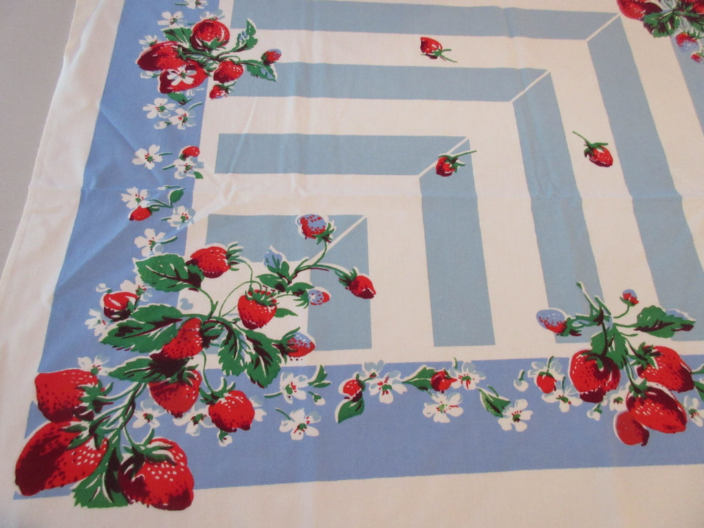 Strawberries on Blue Aqua Stripes Fruit Vintage Printed Tablecloth (51 X 46)