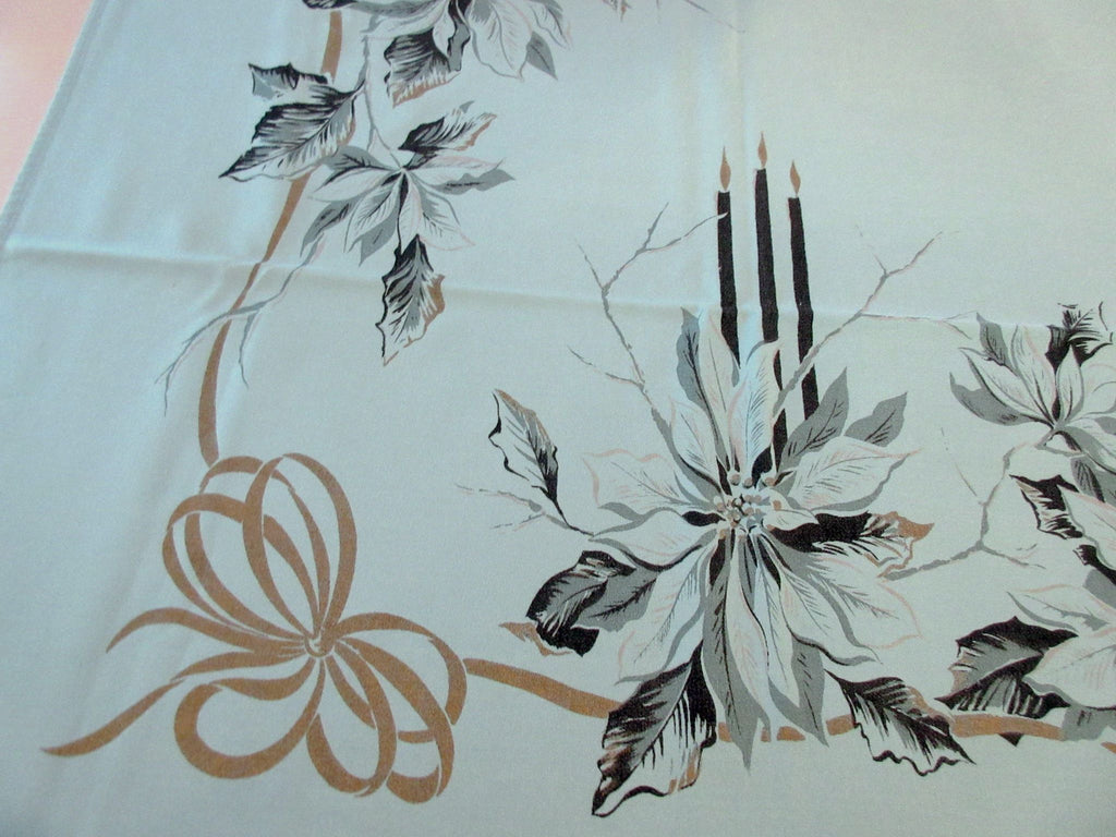 Poinsettias Candles on Teal HTF Christmas CHP Vintage Printed Tablecloth (63 X 52)