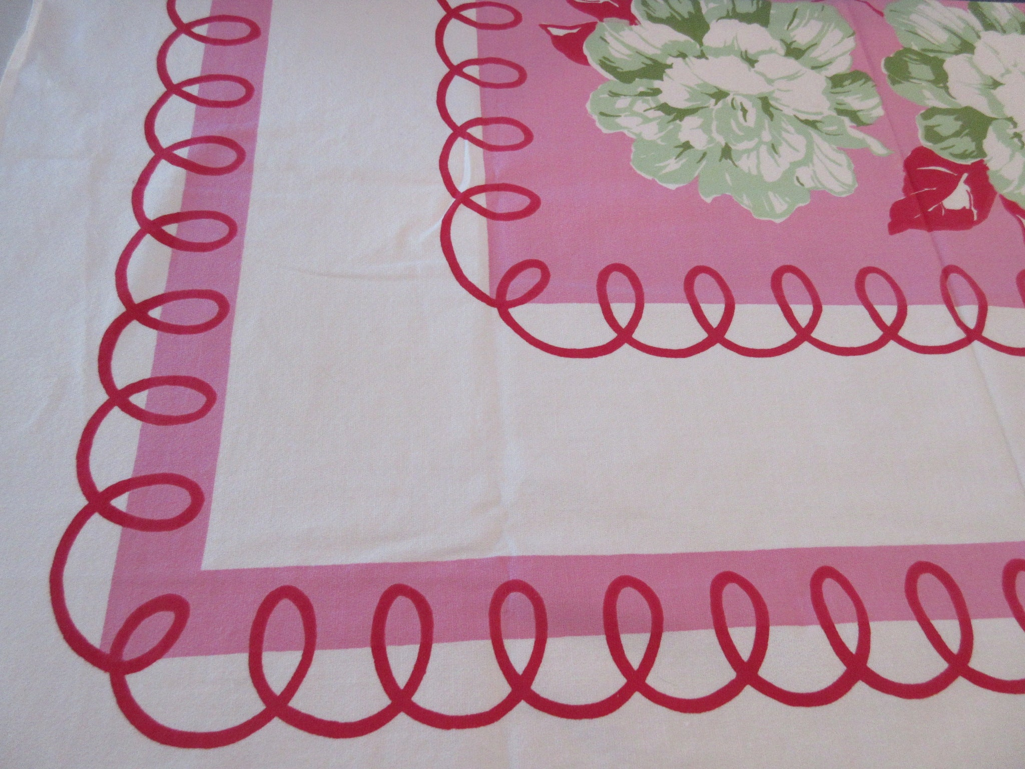 Giant Begonias on Pink Loopy Floral Vintage Printed Tablecloth (50 X 49)