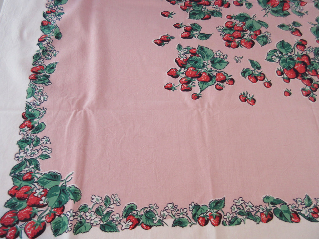 Simtex Strawberries on Pink Fruit Vintage Printed Tablecloth (51 X 45)