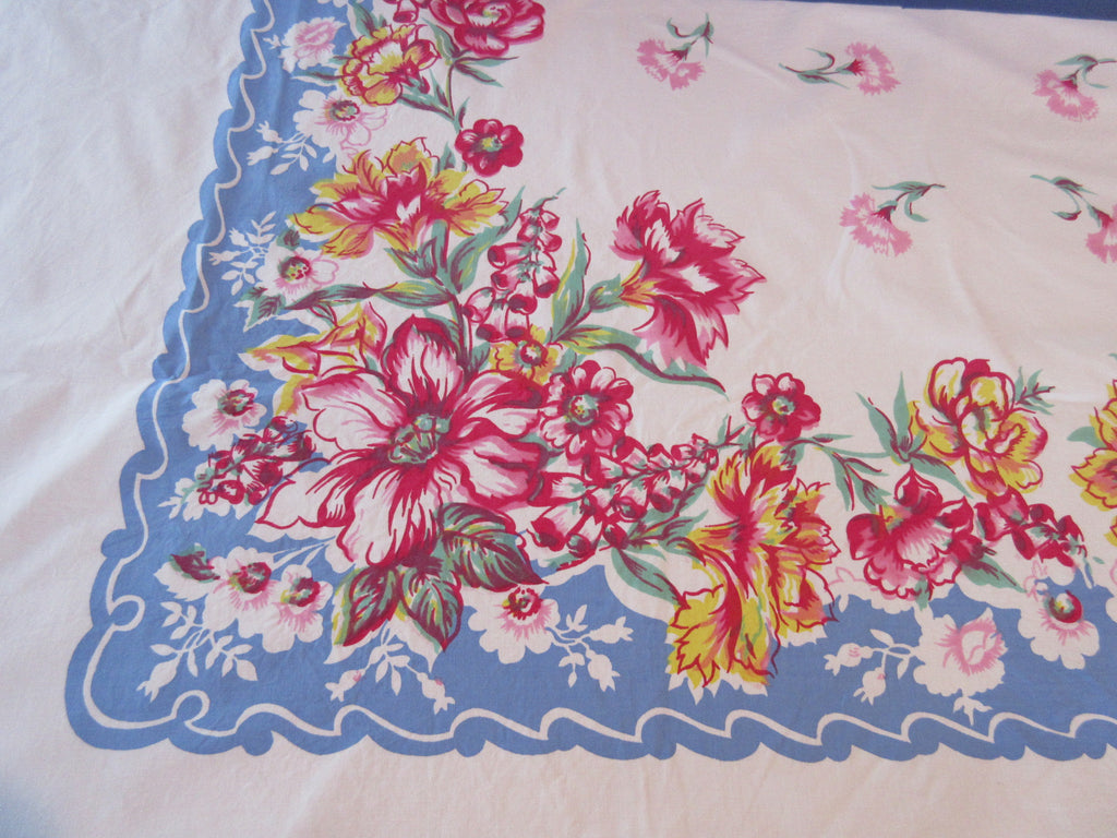 Pink Yellow Carnations Foxgloves on Blue Vintage Printed Tablecloth (72 X 56)