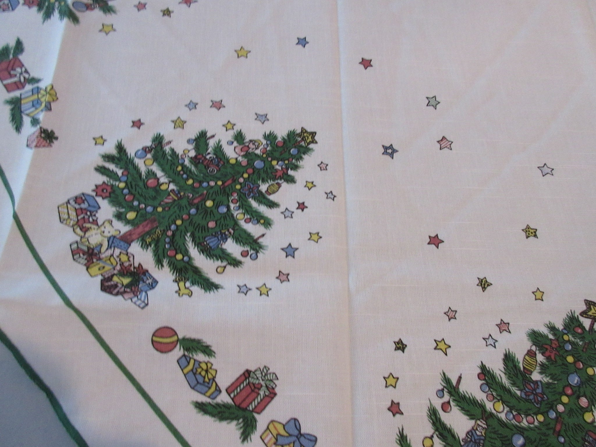 ROUND 70 Christmas Nikko Christmastime NOS Vintage Printed Tablecloth (71 X 68 actual)