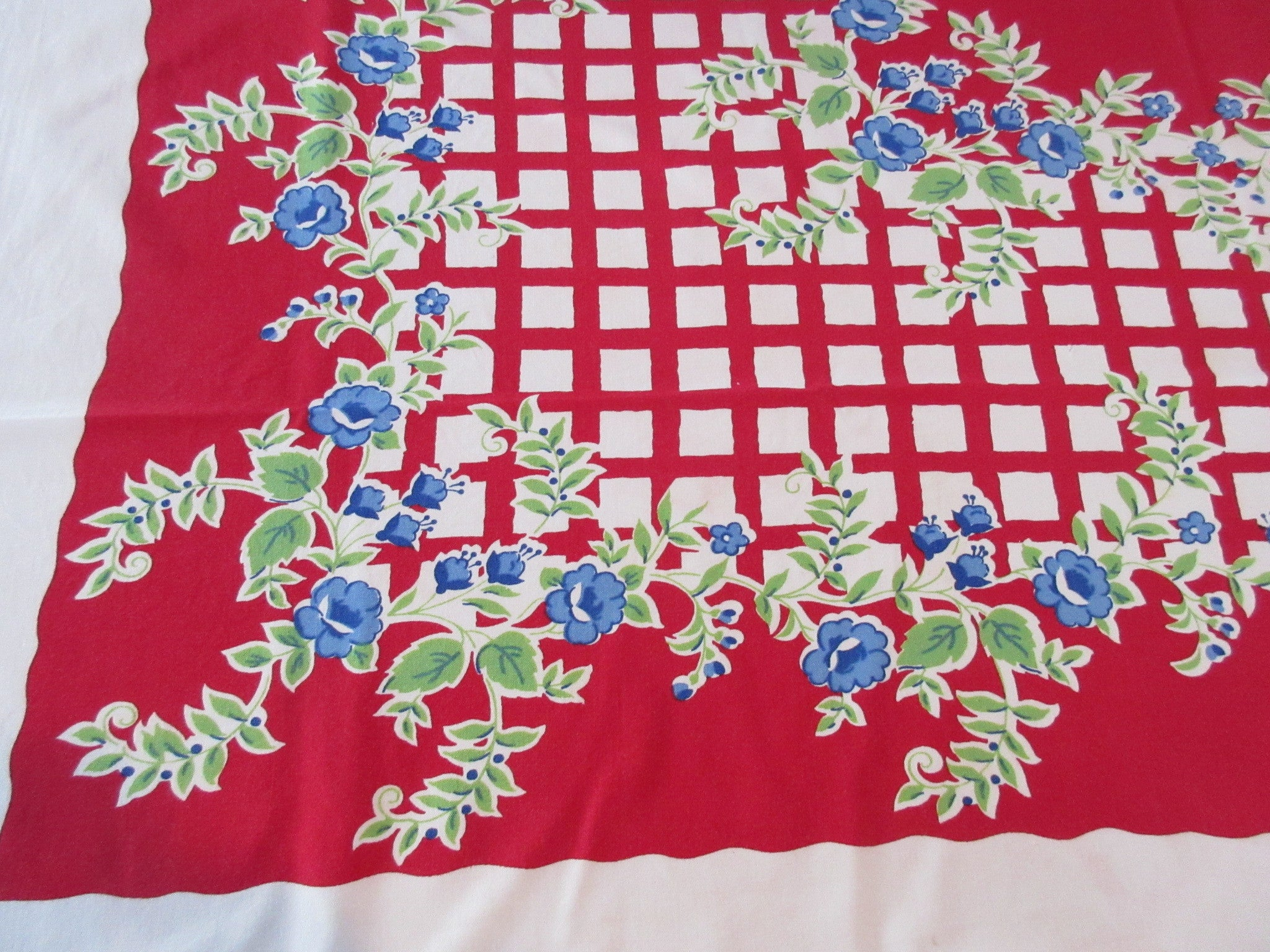 Blue Green Roses on Red Plaid Vintage Printed Tablecloth (50 X 44)