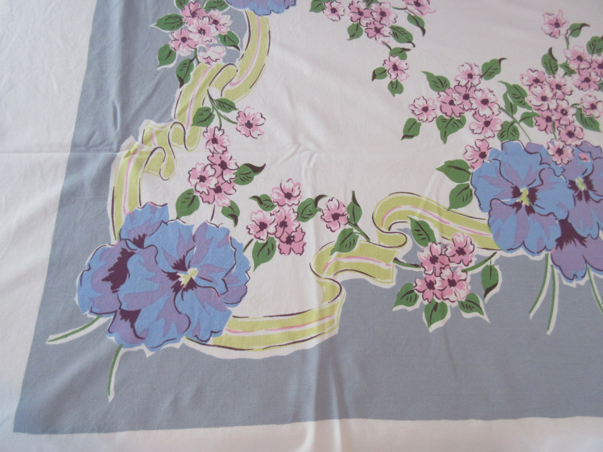 Purple Pansies Yellow Ribbons on Gray Cutter? Vintage Printed Tablecloth (62 X 49)