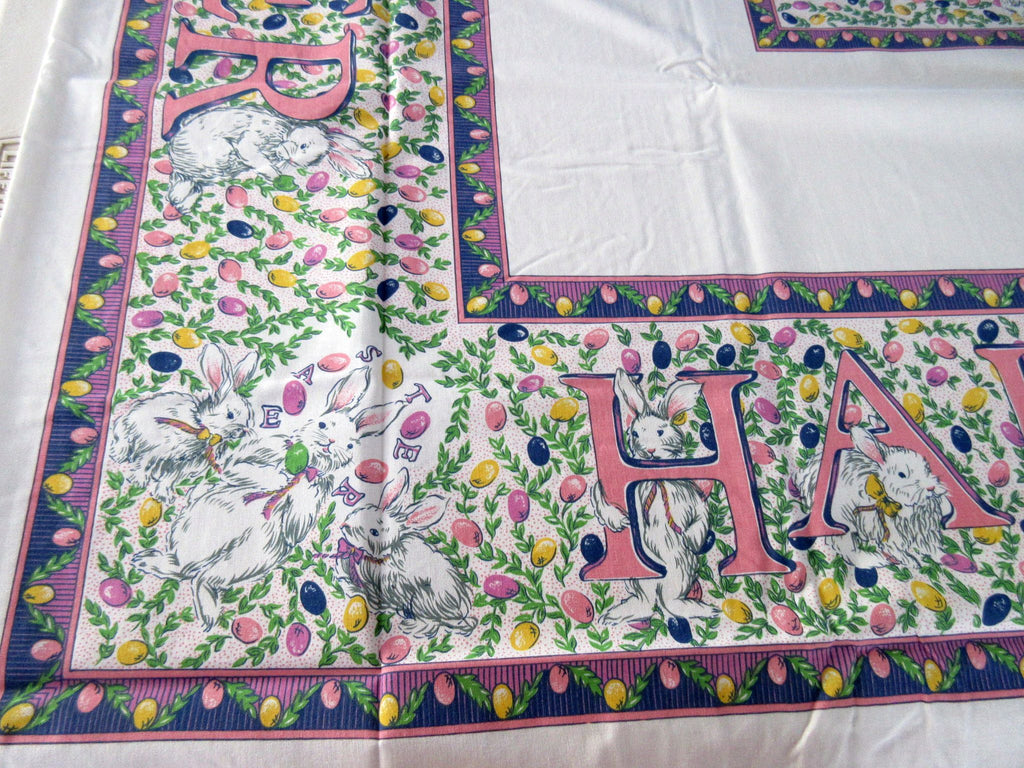 Hoppy Easter Bunny Letters Novelty Vintage Printed Tablecloth (69 X 52)