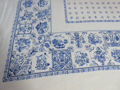 Blue Delft Tiles Linen Novelty Vintage Printed Tablecloth (60 X 54)