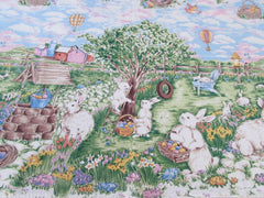 Retro Easter Bunny Egg Hunt Novelty Vintage Printed Tablecloth (65 X 48)