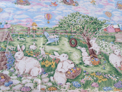 NWT Large Retro Easter Bunny Egg Hunt Novelty Vintage Printed Tablecloth (83 X 58)
