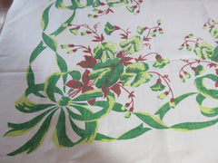 Fall Green Sweet Peas Ribbons Linen Floral Vintage Printed Tablecloth (52 X 49)