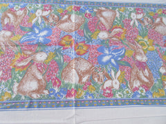 TLC Large Retro Easter Bunny Garden Parade Novelty Vintage Printed Tablecloth (102 X 60)