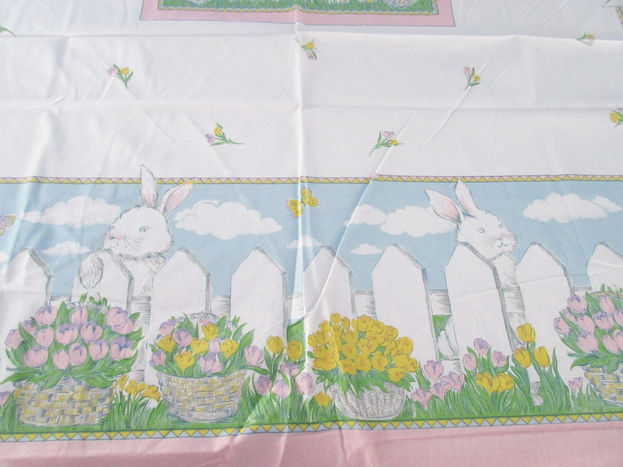 Square Retro Easter Bunny Fence Tulips NOS Novelty Vintage Printed Tablecloth (54 X 53)