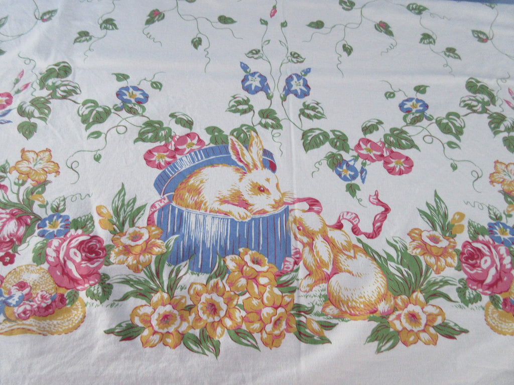 Easter Bunny Bonnets Morning Glories Novelty Vintage Printed Tablecloth (100 X 60)