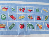 Pastel Calories Food on Blue Bright Novelty Vintage Printed Tablecloth (66 X 54)