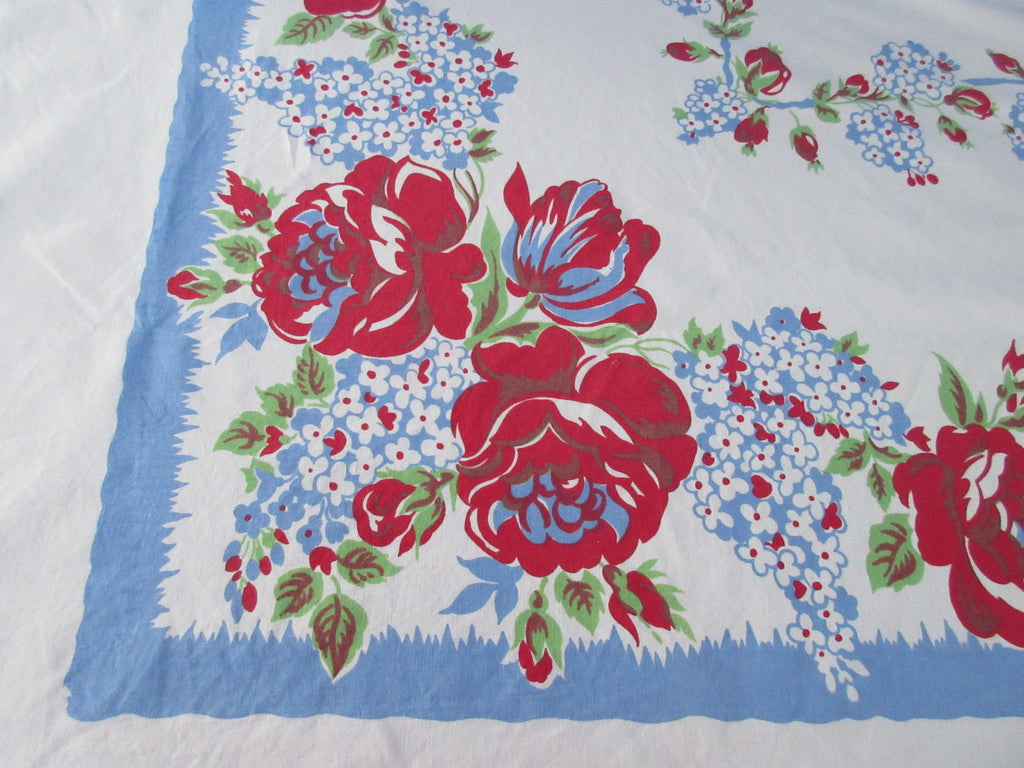 Larger Red Roses Blue Lilacs Floral Vintage Printed Tablecloth (73 X 55)