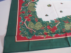 RECTANGLE 52x70 Pinecones Poinsettias Thinner NOS Retro Printed Tablecloth (69 X 52 actual)