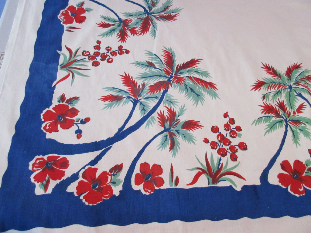 Primary Tropical Palm Trees on Blue Novelty Vintage Printed Tablecloth (50 X 47)