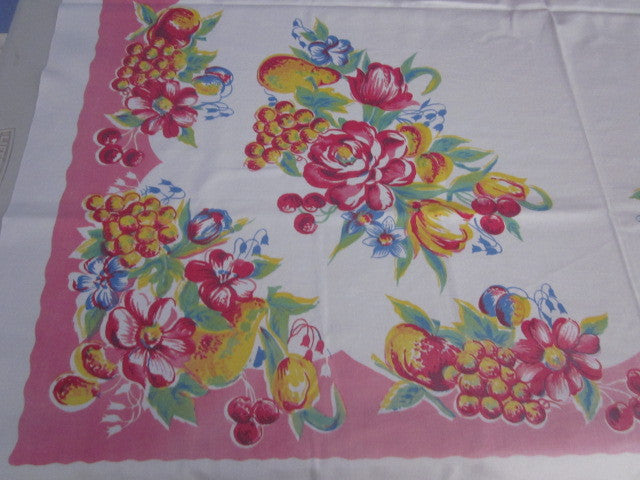 Fab Fruit Flowers on Pink Vintage Printed Tablecloth (48 X 46)