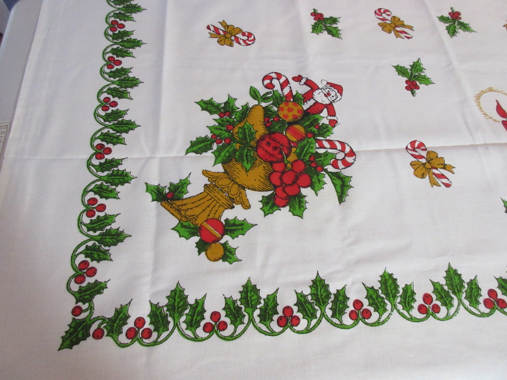 RECTANGLE 52x70 Christmas Santa Fruit Bowls NOS Vintage Printed Tablecloth (69 X 52 actual)