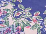 Pink Green Wisteria on Blue Floral Vintage Printed Tablecloth (52 X 45)