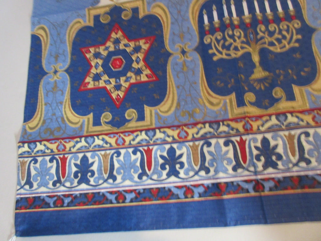 HTF SQUARE 52x52 Hanukkah Menorah NOS Retro Printed Tablecloth (54 X 53)