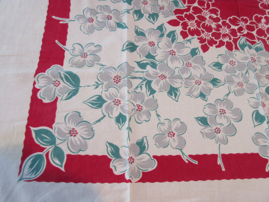 Gray Green Dogwood on Red Floral Vintage Printed Tablecloth (40 X 36)