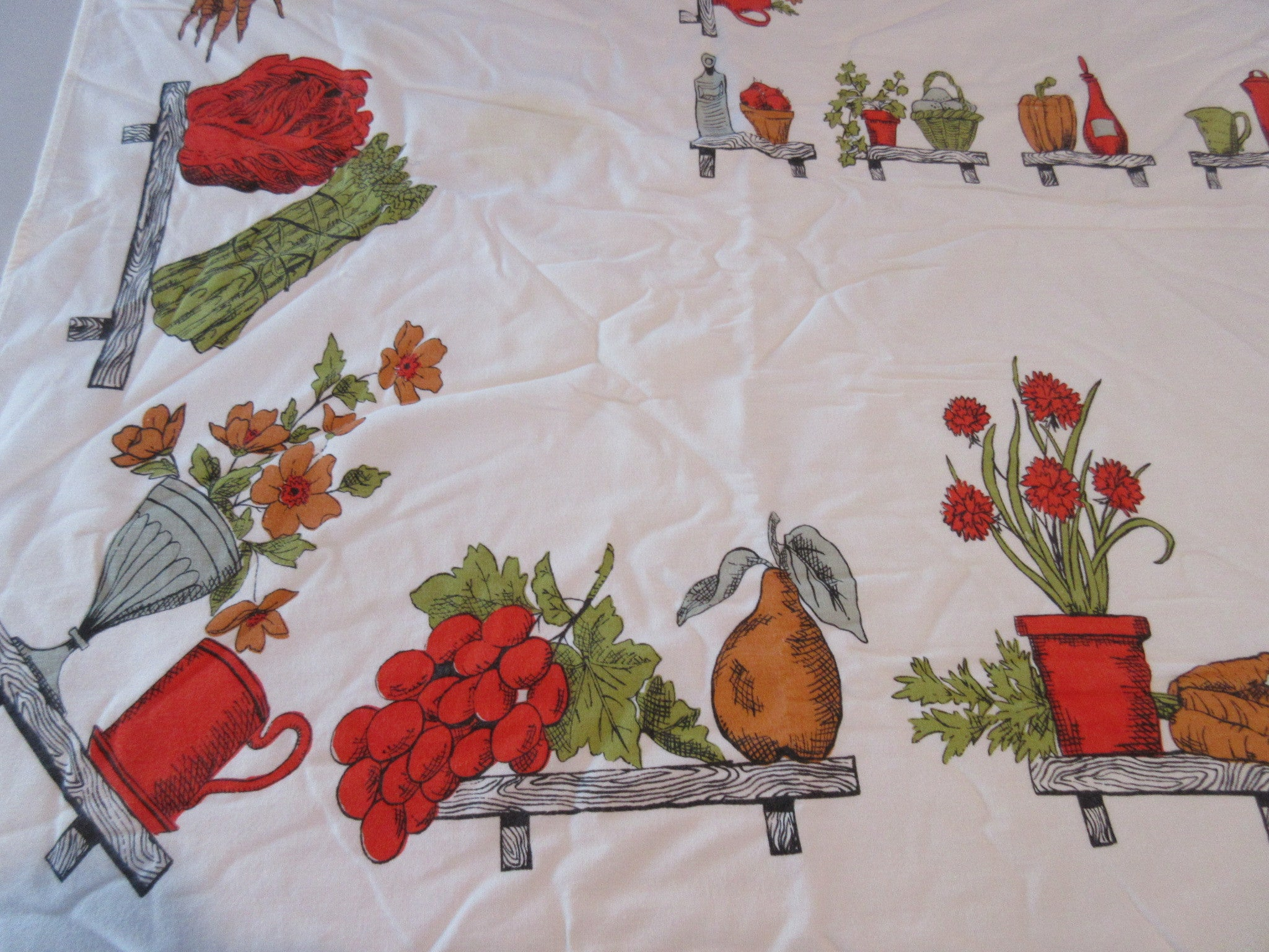 Kitchen Shelves Fruit Vegetables Cutter Vintage Printed Tablecloth (58 X 52)