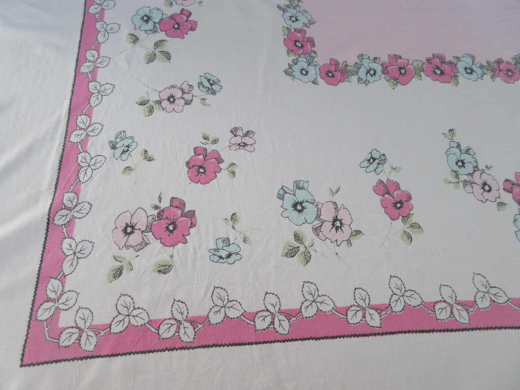 Springy Pink Aqua Pansies on Pink Floral Vintage Printed Tablecloth (68 X 58)