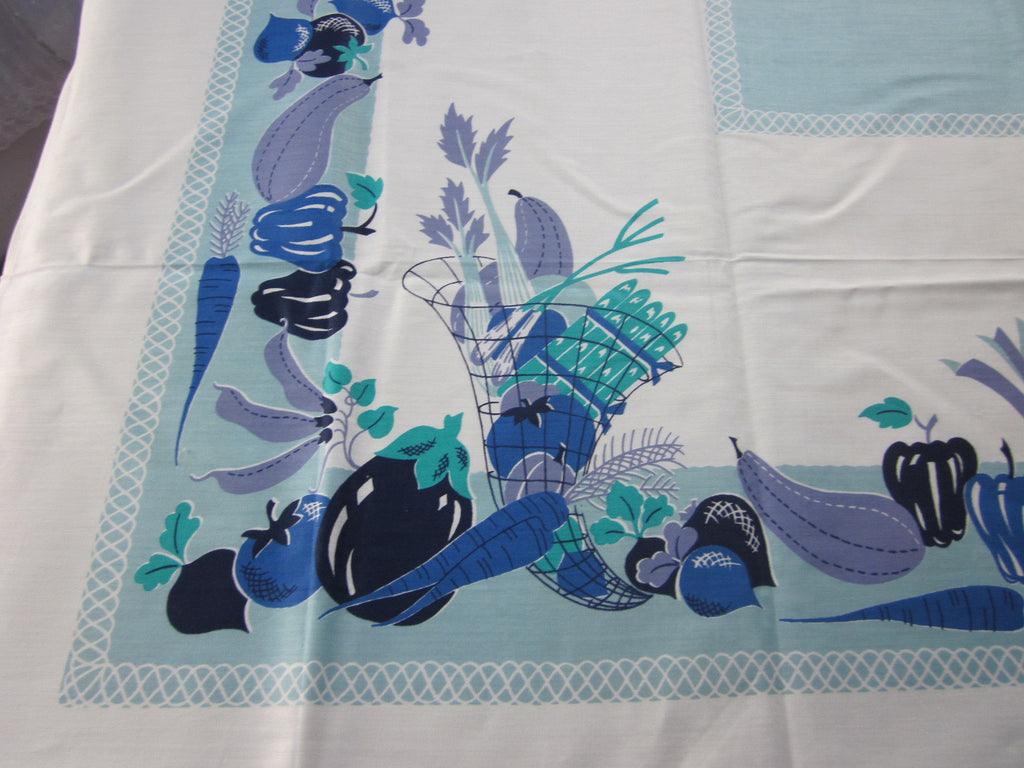 Blue Aqua Cobalt Fruit Veggies Food MWT Vintage Printed Tablecloth (69 X 52)