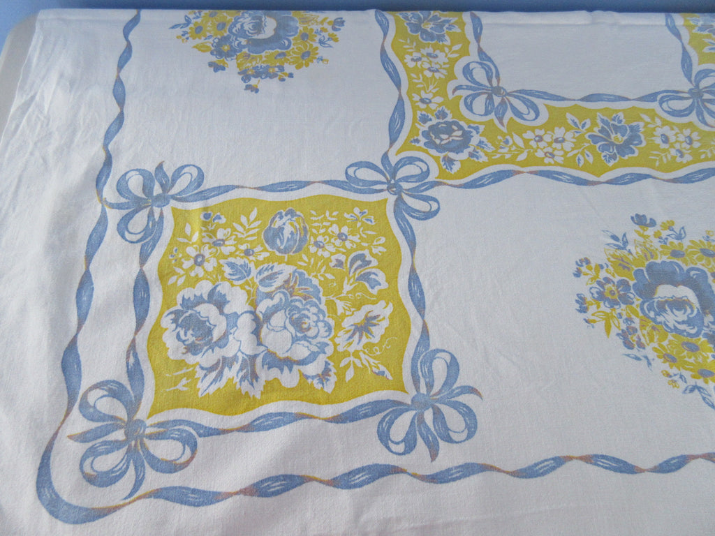 Early Yellow Blue Roses Ribbons Floral Vintage Printed Tablecloth (51 X 46)