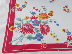 Cottage Primary Chrysanthemums on Red Floral Vintage Printed Tablecloth (52 X 47)