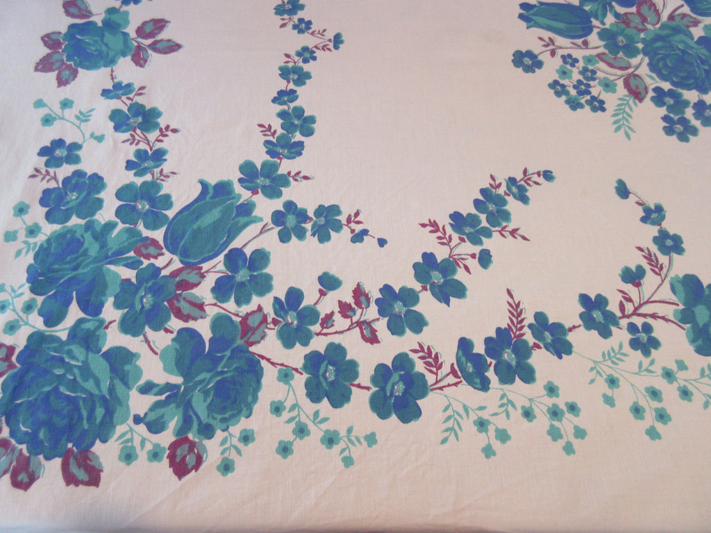 Larger Blue Green Roses Tulips Floral Vintage Printed Tablecloth (71 X 55)