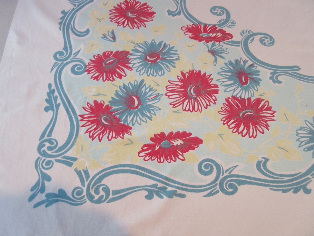 Shabby Teal Red Daisies Swirls on Aqua Floral Vintage Printed Tablecloth (52 X 47)